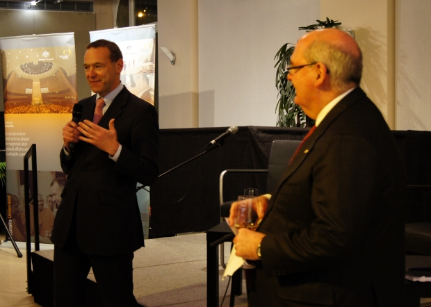 "Australian Ambassador David Ritchie (right) and British Ambassador Sir Simon McDonald (left) co-hosting the panel discussion entitled ""Empowering Women on the International Stage"" at the Australian Embassy in Berlin"