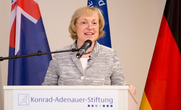 Professor Dr Maria Böhmer, Minister of State at the Federal Foreign Office and Co-Chair of the German Australia Advisory Group, standing behind a posium and giving a speech.
