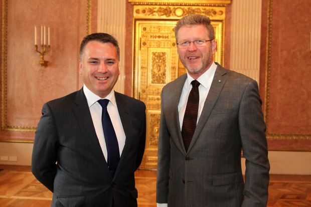 Photo of Minister Briggs with Dr Marcel Huber MdL, Head of the Bavarian State Chancellery and State Minister for Federal and Special Affairs standing next to each other
