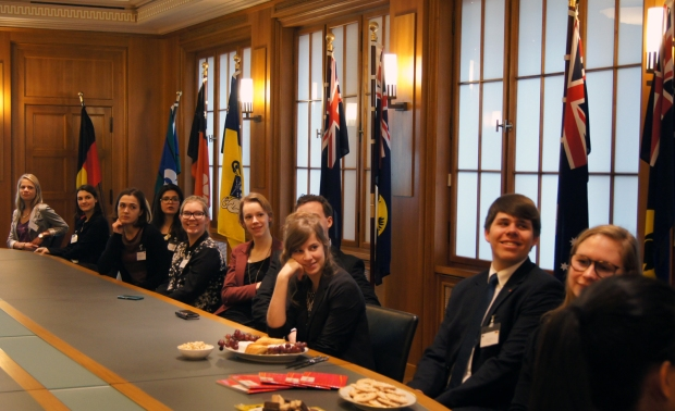 Group of international interns at the Australian Embassy